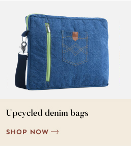 Source Upcycled denim bags from Qalara